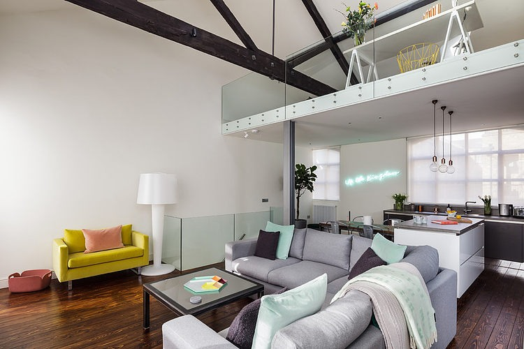 eclectic-loft-grey-sofa-yellow-sofa-chair