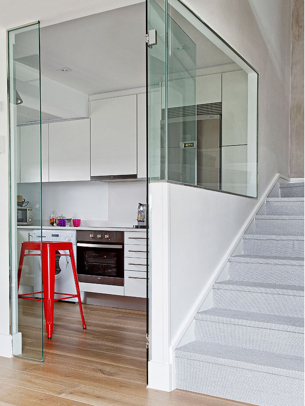 glass-door-kitchen-white-kitchen-red-stool