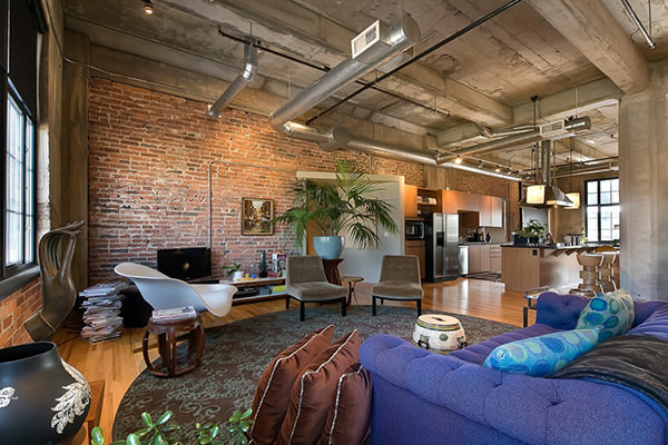 industrial interior design expose brick wall industrial ceilling  contemporan design living room