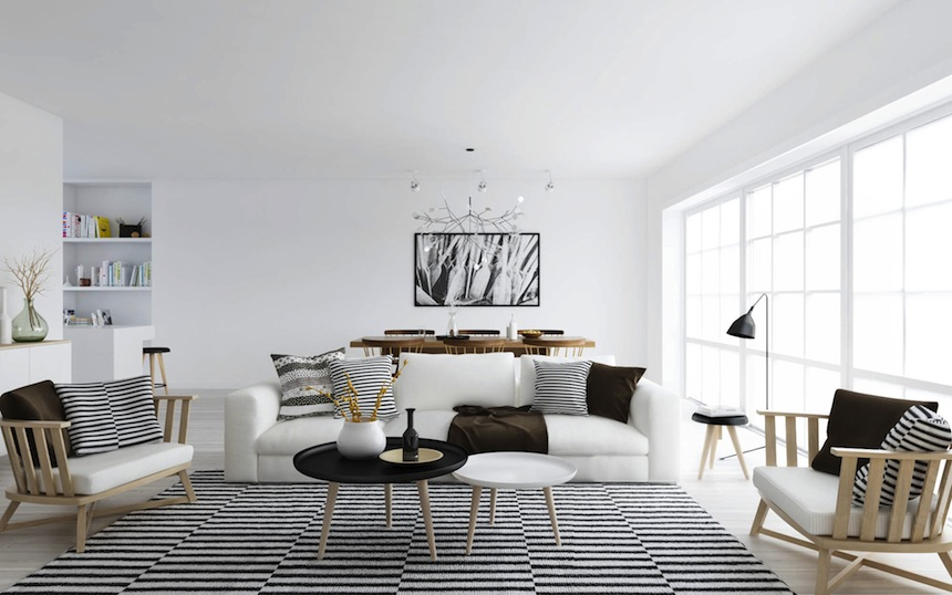 interior-wonderful-round-coffee-table-with-comfortable-white-loveseat-and-elegant-black-and-white-pattern-fur-rug-scandinavian-style-interior-design