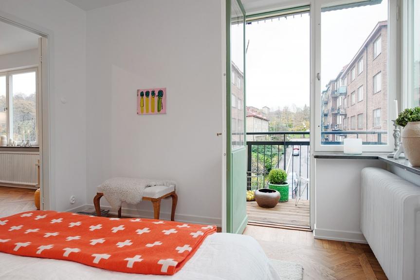 scandinavian apartment bedroom details