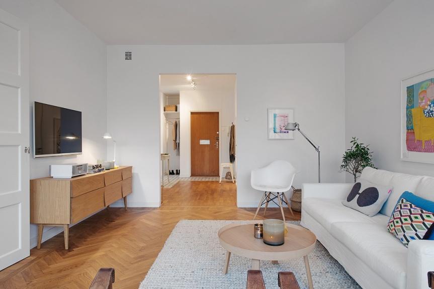scandinavian apartment living room view