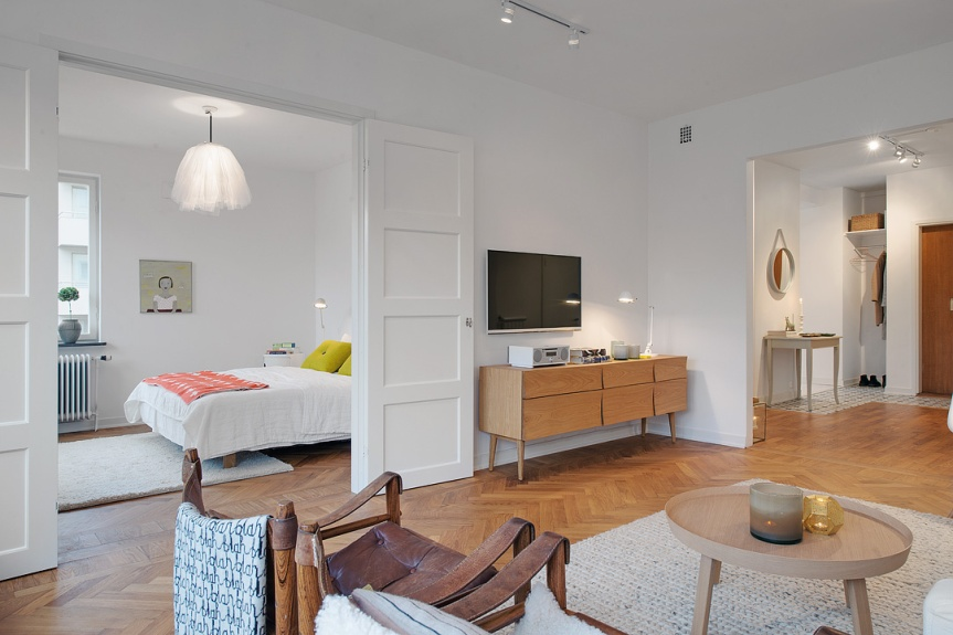 scandinavian apartment tv media living room