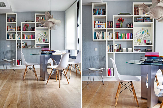 white-eames-chair-office-area-dining-area-white shelves-on-the-wall