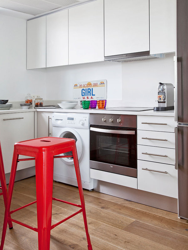 white-kitchen-red-stool