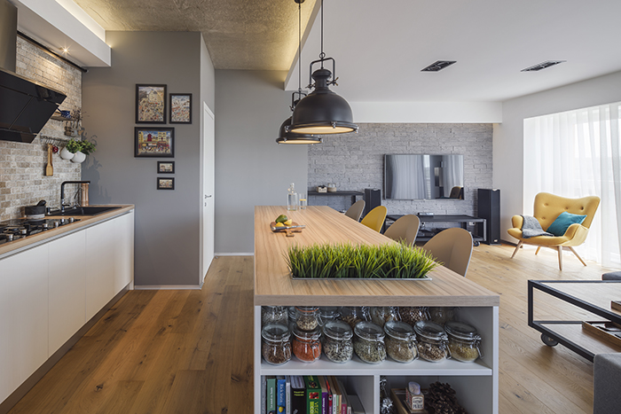 white minimalist kitchen expose brick scandinavian design grey walls