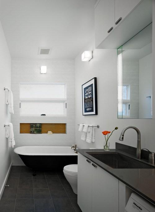 contemporary-bathroom-dark-grey-tile-white-walls