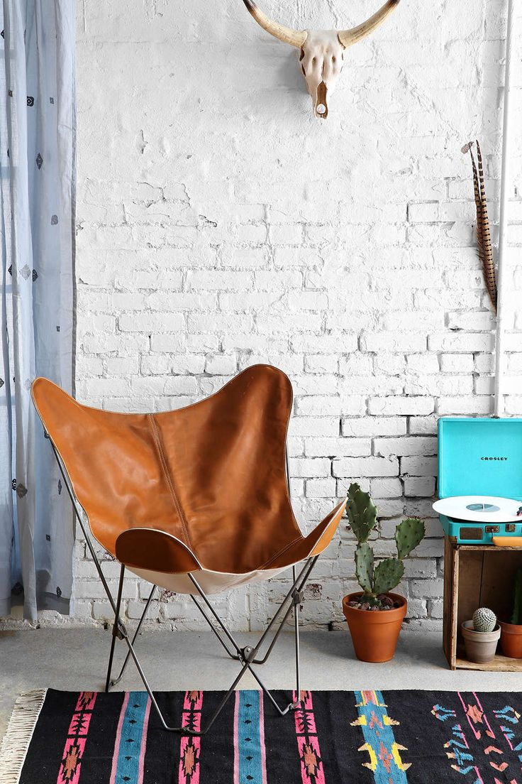 brown_leather_butterfly_chair_kilim_rug