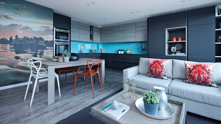 open_space_grey_sofa_grey_kitchen_colorful_dining_chair